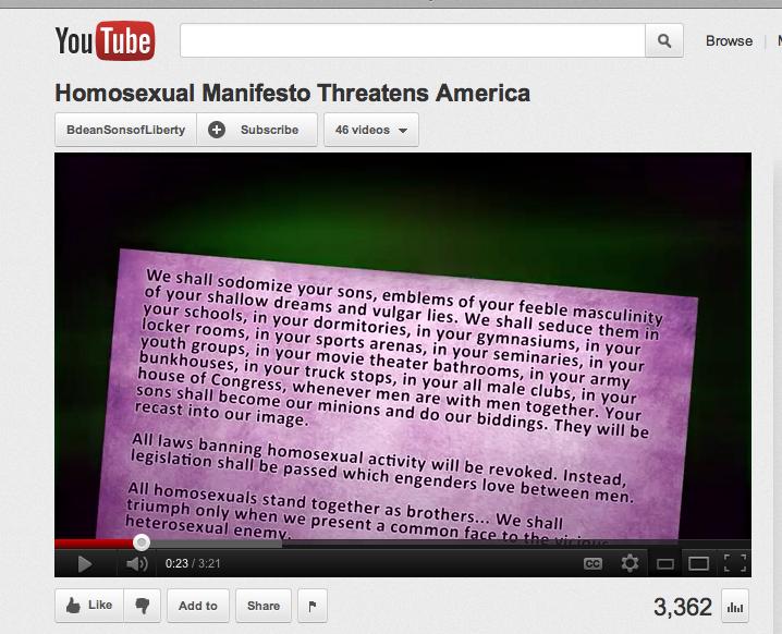 Homosexual manifesto congressional record