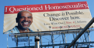 Billboards declaring the efficacy of orientation change by EXODUS, a now defunct Christian ministry